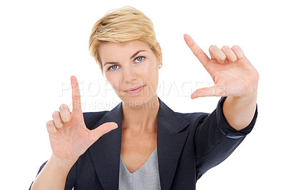 Buy stock photo Portrait of a young business woman framing you with her hands