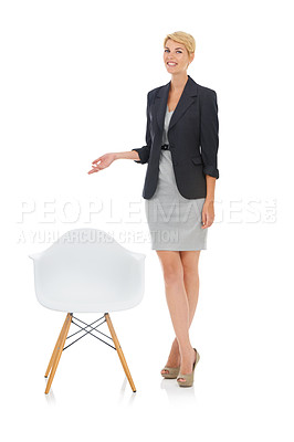 Buy stock photo A young businesswoman offering you a seat