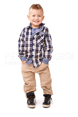 Buy stock photo Full length studio shot of well-dressed young boy isolated on white