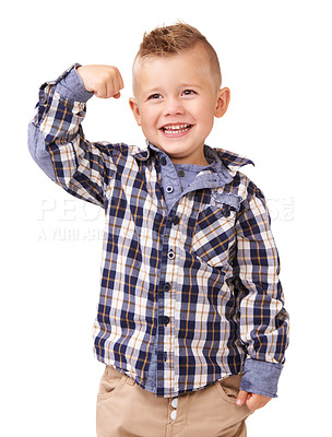 Buy stock photo An adorable little boy flexing on a white background