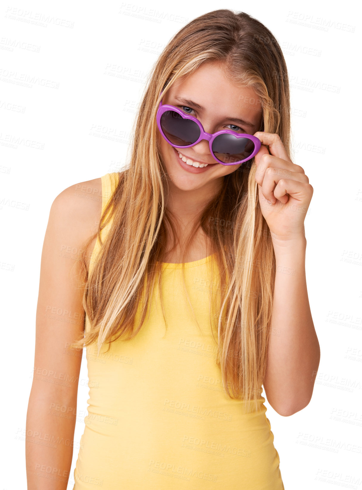 Buy stock photo Portrait of a cute teen girl peering over her heart-shaped glasses
