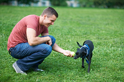 Buy stock photo A young man playing with his dog outdoors