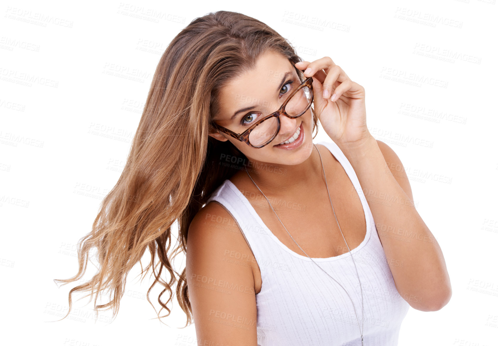 Buy stock photo Portrait of an attractive young woman wearing glasses