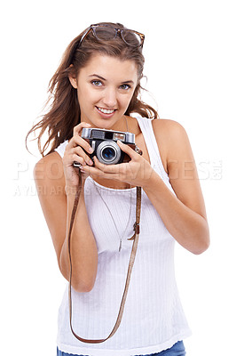 Buy stock photo Studio portrait of a young woman holding a vintage camera