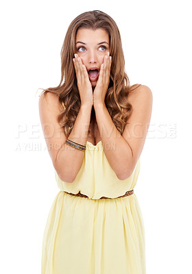 Buy stock photo Attractive young woman standing with a shocked expression on isolated background