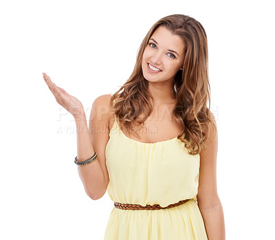 Buy stock photo An attractive young woman showing you some copyspace