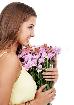 Buy stock photo A young woman holding a bouquet of fresh flowers