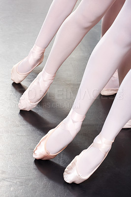 Buy stock photo Cropped shot of a group of girls during ballet class