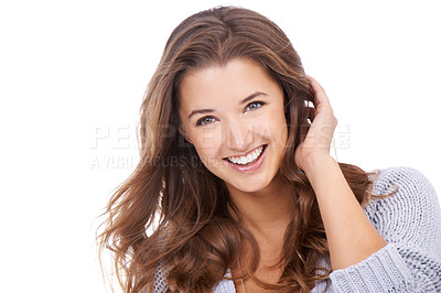 Buy stock photo A gorgeous young woman isolated on a white background