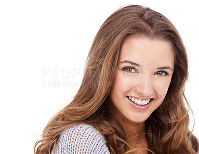 Buy stock photo Cropped shot of a gorgeous young woman isolated on white