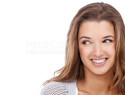 Buy stock photo A gorgeous young woman looking away while isolated on a white background