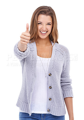 Buy stock photo A beautiful young woman giving you a thumbs up while isolated on a white background