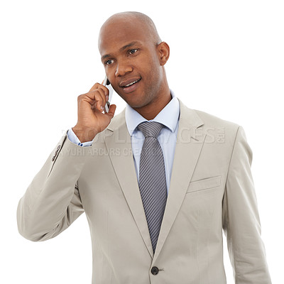 Buy stock photo A young African=American businessman speaking on his cellphone