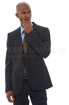 Buy stock photo A handsome young african american coming up with ideas on a white background