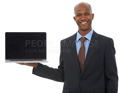 Buy stock photo An african-american businessman holding a laptop against a white background