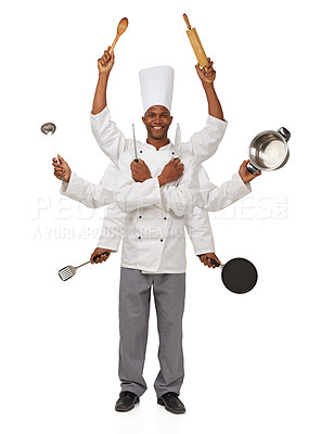 Buy stock photo A chef with eight arms holding different cooking utensils in them