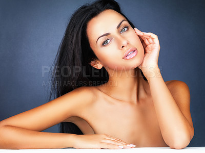 Buy stock photo Portrait of a sexy woman isolated on blue background