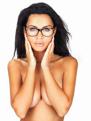 Buy stock photo Topless woman in retro glasses covering breasts with hands , isolated on white background
