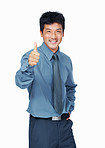Asian business man with thumb up