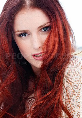 Buy stock photo Closeup of a lovely redheaded young woman looking at the camera