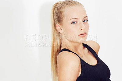 Buy stock photo Gorgeous young blonde woman isolated on white