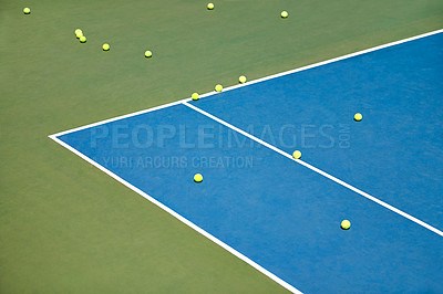 Buy stock photo Tennis balls lying on an empty court