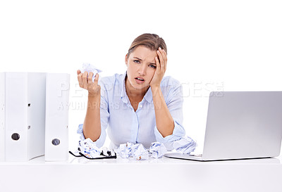 Buy stock photo An attractive young woman looking frustrated at work