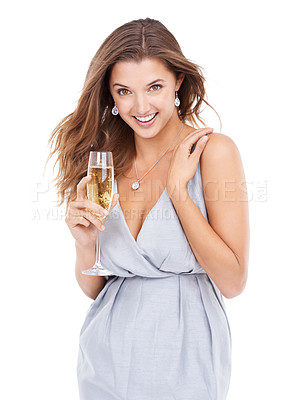 Buy stock photo Portrait of an attractive and stylish young woman holding a glass of champaign