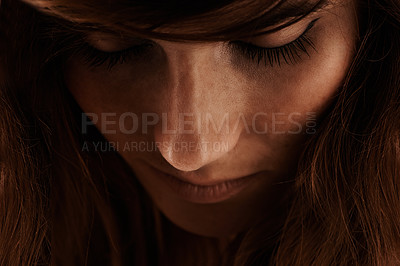 Buy stock photo Close up pic of a beautiful young woman
