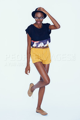 Buy stock photo A statuesque african american woman modeling the latest in trendsetting clothing