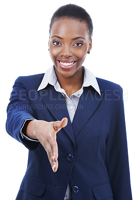 Buy stock photo Portrait of an african-american businesswoman extending her hand for a handshake