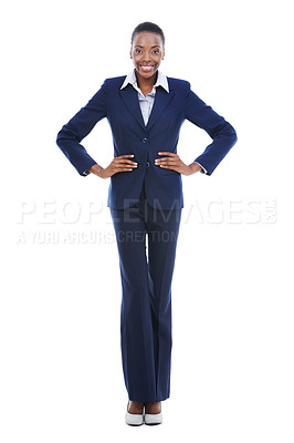 Buy stock photo Studio portrait of a confident-looking young businesswoman isolated on white
