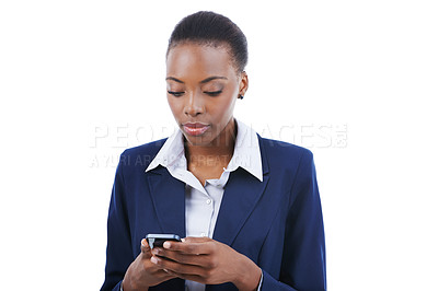 Buy stock photo Studio shot of a young african american businesswoman texting on a mobile isoalted on white