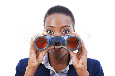 Buy stock photo Shot of a young african american businesswoman holding binoculars
