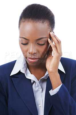 Buy stock photo Studio shot of a young businesswoman touching her aching head isolated on white