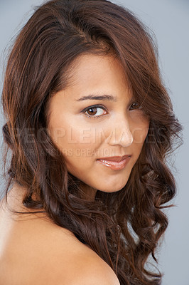 Buy stock photo Beauty shot of a young woman with great hair