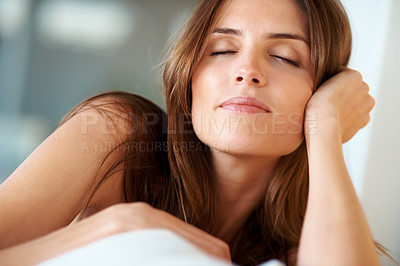 Buy stock photo Resting - Relaxed young lady with closed eyes