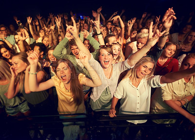 Buy stock photo Cropped shot of a crowd at a music festival