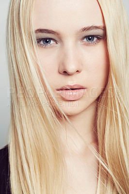 Buy stock photo Closeup portrait of a beautiful young blonde woman