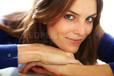 Buy stock photo Closeup of relaxed young lady lying down on floor