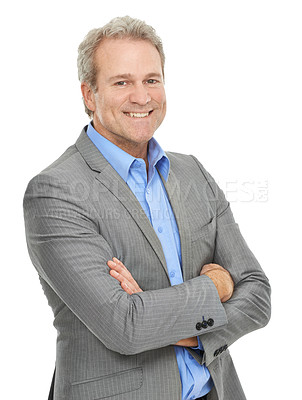 Buy stock photo Studio portrait 0f a positive-looking mature businessman isolated on white