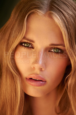 Buy stock photo Headshot of a beautiful young model with long blond hair