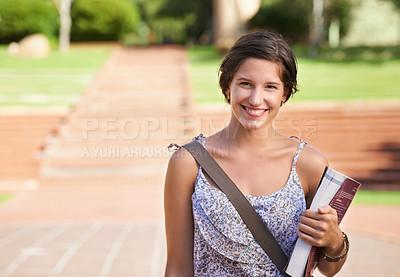 Buy stock photo A beautiful young student standing on campus smiling at the camera