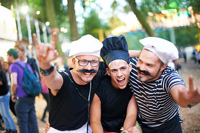 Buy stock photo Cropped portrait of some guy friends at a festival