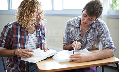 Buy stock photo Shot of young university students studying