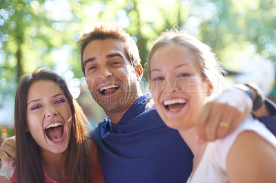 Buy stock photo Portrait of three friends enjoying themselves at an outdoor festival