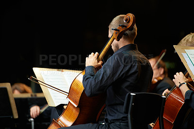 Buy stock photo Cropped shot of musicians during an orchestral concert