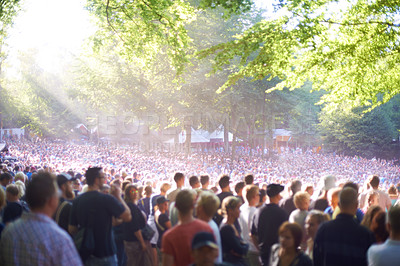 Buy stock photo View of a huge crowd at the Skanderborg music festival