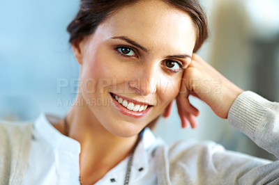 Buy stock photo Portrait of a happy young looking confidently