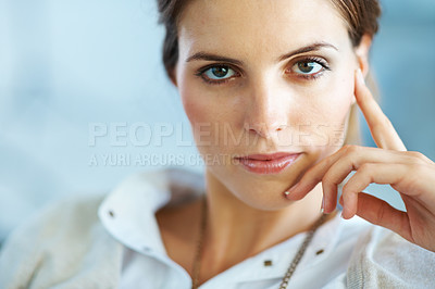 Buy stock photo Beautiful young female looking confidently